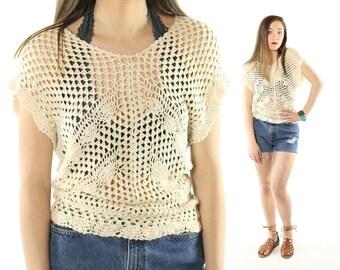 Vintage 80s Crochet Top Pullover Sweater Short Sleeve Blouse Sleeveless Jumper 1980s Small S India Sunart