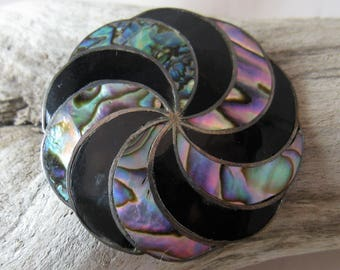 Vintage 925 Silver AR Hecho in Mexico Abalone Shell & Onyx Pinwheel Brooch or Pendant