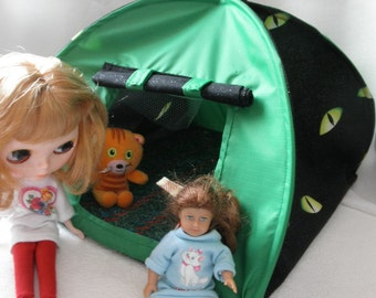 Pop Up TENT Blythe Barbie green Nylon n Eyes also Mimi American dolls or stuffed animals up to 14 inch