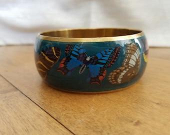 Vintage Brass Teal Antique Butterfly Image Bangle Cuff Bracelet