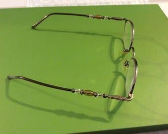 Vintage Eyeglasses with beads, Metal Rim glasses, Beads , Vintage Eyewear