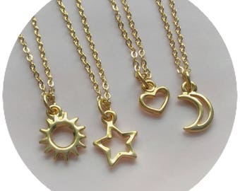 Gold Sun, Moon, Heart or Star necklace, friendship necklaces