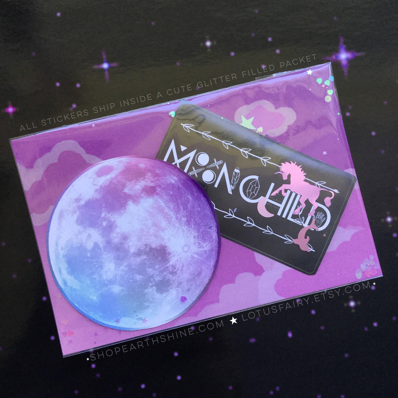 "MoonChild sticker 3 5 x 2"" Moon child Moon business card size"