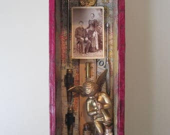 Mixed media art, assemblage, shadow box, found objects, 3D art, frankenjunk sculpture