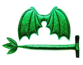 Green Dragon Wings and Tail SET, Sparkle Metallic Green,  green dragon tail, wire free,  dress up play, cosplay dragon, Halloween costume