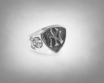 New York Yankees 925 Solid Sterling Silver NY Logo Ring