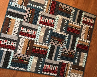 Baby Boy Quilt -- red, blue, grey,black,houndstooth, argyle, patchwork, striped -- Busy Beaver - Andie Hanna