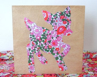 Fawn Picture - Deer on Wood Canvas - Woodland Nursery - Baby Deer Art - Kitsch Wall Hanging - Decoupage Pink Floral Art - Paper Cut Reindeer
