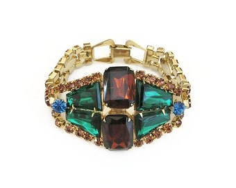 Juliana Rhinestone Bracelet - Kite Rhinestones, Keystone Rhinestones, Rhinestone Bracelet, Vintage Bracelet, Vintage Jewelry