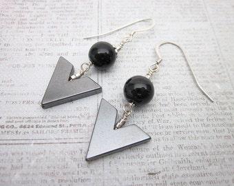 Black & Grey Earrings -- Chevron Earrings -- Hematite Bead Earrings -- Arrowhead Earrings -- Stone Point Earrings -- V Dangles -- Inverted