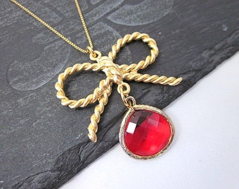 Red & Gold Charm Necklace -- Gold Bow Necklace -- Red Bow Necklace -- Bow Pendant Necklace -- Red Charm Necklace -- Red Glass Necklace