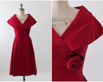 Vintage 1950s Red Velvet Holiday Dress