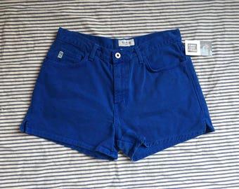 "29"" Waist / Denim Shorts / GUESS Cobalt Blue Denim Shorts / High Waisted Hot Pants /  Jean Shorts / Nineties Shorts"