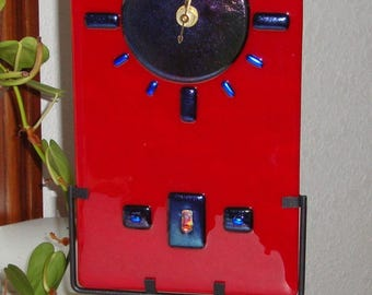 Fused Glass Table/Wall Clock - Red