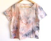 Cotton Boxy Top in Hand Dyed Rainbow Colorway - M/L