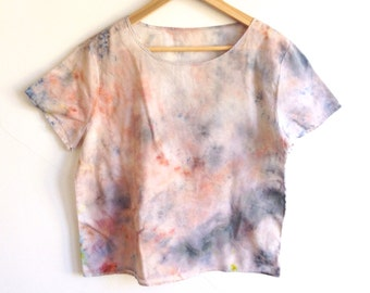 Cotton T-shirt in Hand Dyed Rainbow Sherbert - M/L