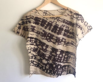 Hand Dyed Cotton Top in Beige and Black Shibori Fractal - M/L
