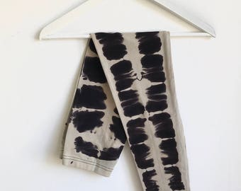 Black and Beige Hand Dyed Graphic Inkblot Leggings