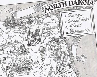 MAP North Dakota Vintage Print -- Adorable, Beautifully Illustrated, Perfect for Framing, Bismark, Fargo, Grand Fork