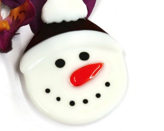 Snowman Christmas Ornament, Fused Glass, Tree Decor, Red Hat