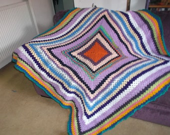 Retro Colourful blanket throw  approx 62/62 ins