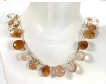 ON SALE Copper Rutilated Quartz Beads Flat Teardrops Faceted Pear Shaped Briolettes - 4 Beads in 4 Different Shaded Colors - 12x9 to 13x10mm