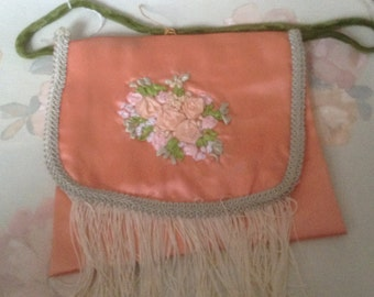 Victorian peach purse with handle with  of hand  embroidered  flowers