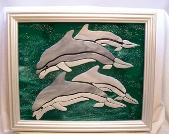 Dolphins, Fused Glass Dolphins, Glass Dolphins, Art Glass, Stained Glass Dolphin, Seaside Decor