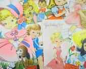 Vintage Little Girls Novelty Birthday Greeting Cards Lot (12) Each Assorted Baby Boomer Era Used Paper Craft Ephemera