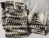 Coffee with Cream Hanging Towel and Wash Cloth Set Brown and White Crocheted, Cotton, Handmade Kitchen Towel and Dish Cloth Set, 100% Cotton