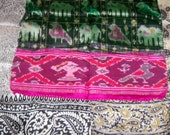 3 Antique 1920s India Silk Hand Rolled Hanky Handkerchief Scarves Made from Vintage Saris Lot 2