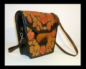 1950s tooled leather black purse ~ long cross body strap ~ painted brown rust flowers leaves & horse ~ high quality bag ~ Mexico Mexican 50s