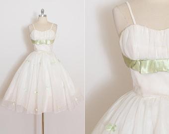Vintage 50s Dress | vintage 1950s dress | white chiffon party dress | xs | 4103