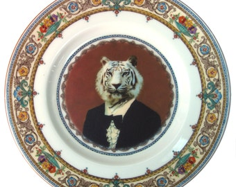 Timeless Tiger - Altered Vintage Plate 7.75""