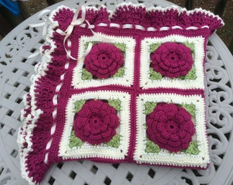 Fuschia Rose Baby Blanket Throw Floral Afghan - 3' x 3' - Ready to Ship