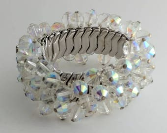 Clear AB Crystal Metal Expanding Bracelet