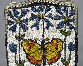 Antique Beaded 1920s Pursue, 20s Floral Butterfly Motif Purse Bag, Flapper Purse
