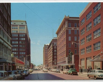 Eighth Street Scene Cars Wichita Falls Texas 1950s postcard
