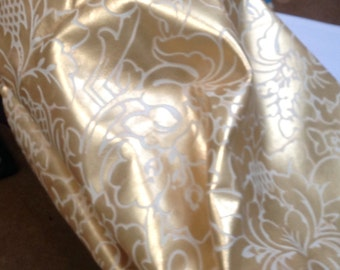 BASK260.  Gold and Cream Embossed Floral Leather Cowhide Partial