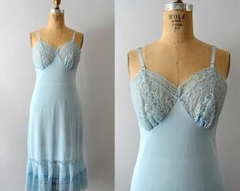 1950s Vintage Slip - 50s Pale Blue Lace & Pleated Nylon Full Dress Slip