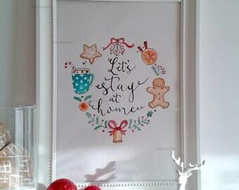 Sale Let's Stay at Home Printable home decor-INSTANT DOWNLOAD Printable PDF - Christmas Holiday Printable Home Decor