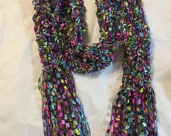 Skinny fancy  Ribbon Scarf jewel tone fancy Ribbon Yarn  Hand knitted by MCleodhandcraftgifts soecial hand made gifts