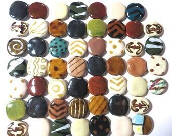 Kazuri Beads, 50 Kazuri Beads, Muted Coloured Ceramic Beads, Kazuri African Beads No 9