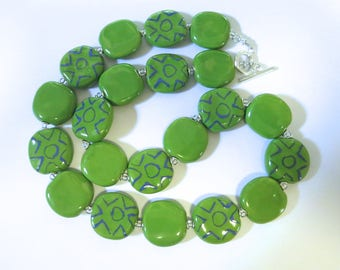 Ceramic Jewelry, Kazuri Bead Necklace, Statement Necklace, Green and Blue Necklace
