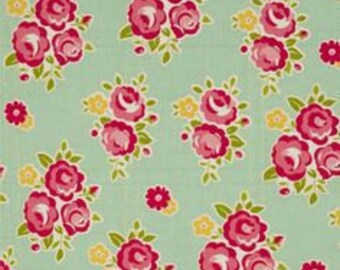 PADDED Ironing Board Cover made with Riley Blake Sidewalks classic vintage red flower bouquets on mint green background select the size