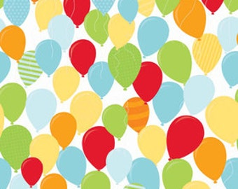 Laminated cotton aka oilcloth tablecloth custom size and fit choose elastic, tailored, or draped, Happy Birthday Balloons