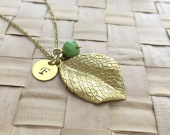 Leaf Necklace, Initial Necklace, Gift Ideas,  Hand Stamped Necklace, Friendship Necklace, Gift For Her, Handmade Necklace