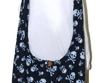 Black   Hippie Hobo Cotton Sling Crossbody Bag Messenger Purse Skull Print