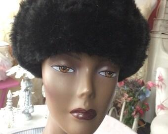 Black Fake  Fur Hat