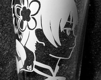 Madoka Mami Tomoe etched pint glass tumbler